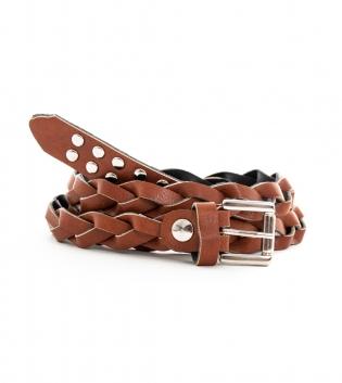 Cintura Donna Cinta Cuoio Sottile Intrecciata Accessori Fibbia Metallo Borchie GIOSAL