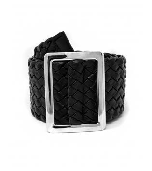 Cintura Donna Intreccio Ecopelle Larga Fibbia Rettangolare Tinta Unita Nero Accessori GIOSAL