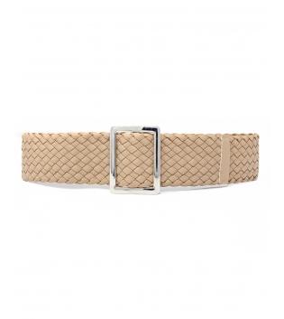 Cintura Donna Intreccio Ecopelle Larga Fibbia Rettangolare Tinta Unita Beige Accessori GIOSAL