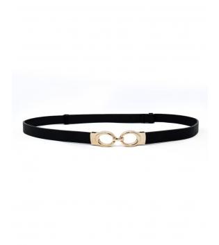 Cintura Donna Sottile Tinta Unita Nero Fibbia Oro Regolabile Accessori GIOSAL