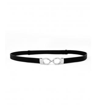 Cintura Donna Sottile Tinta Unita Nero Fibbia Argento Regolabile Accessori GIOSAL