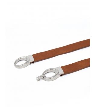 Cintura Donna Sottile Tinta Unita Cuoio Fibbia Argento Regolabile Accessori GIOSAL