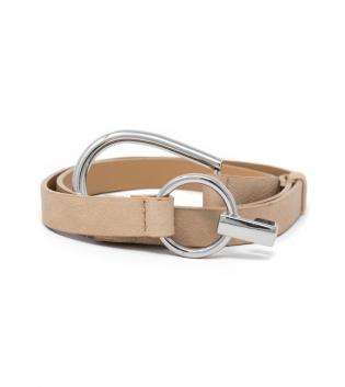 Cintura Donna Sottile Regolabile Fibbia Acciaio Argento Tinta Unita Beige Accessori GIOSAL