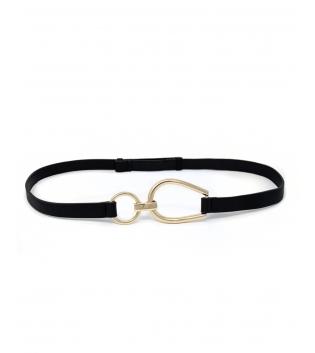 Cintura Donna Sottile Regolabile Fibbia Acciaio Oro Tinta Unita Nero Accessori GIOSAL