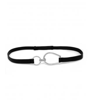 Cintura Donna Sottile Regolabile Fibbia Acciaio Argento Tinta Unita Nero Accessori GIOSAL
