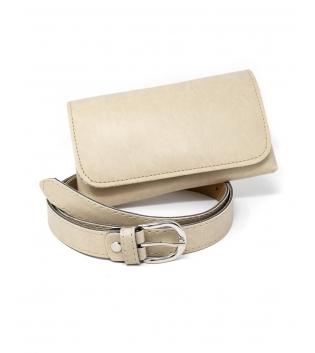 Cintura Donna Marsupio Removibile Tinta Unita Beige Accessori GIOSAL