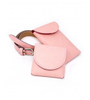 Cintura Donna Sottile Doppio Marsupio Removibile Tinta Unita Rosa Pastello Accessori GIOSAL