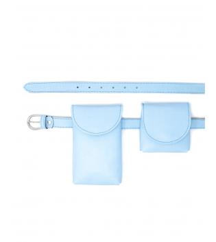 Cintura Donna Sottile Doppio Marsupio Removibile Tinta Unita Celeste Pastello Accessori GIOSAL