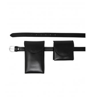 Cintura Donna Sottile Doppio Marsupio Removibile Tinta Unita Nero Accessori GIOSAL