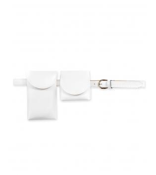 Cintura Donna Sottile Doppio Marsupio Removibile Tinta Unita Bianco Accessori GIOSAL