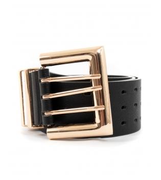 Cintura Donna Cinta Alta Tinta Unita Nera Fibbia Metallo Oro GIOSAL