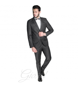 Abito Elegante Uomo Vestito Grigio Scuro Classico Tasche Taschino Papillon Tinta Unita GIOSAL-Grigio Scuro-46