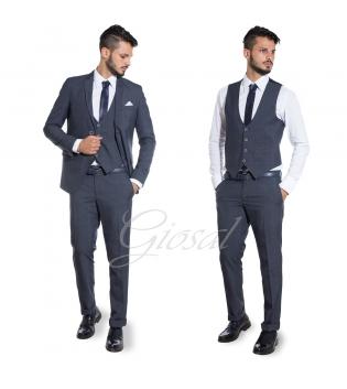 Abito Elegante Uomo Completo Pantaloni Giacca Gilet Panciotto Scozzese Blu GIOSAL