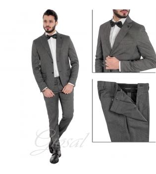 Abito Elegante Uomo Completo Giacca Pantaloni Blu Micro Quadretti Grigio Scuro GIOSAL