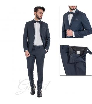Abito Elegante Completo Uomo Giacca Pantalone Pochette Taschino Micro Fantasia Blu GIOSAL