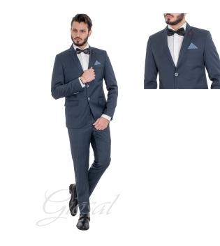 Abito Uomo Elegante Giacca Pantaloni Completo Blu Scuro Slim Quadretti Scozzese GIOSAL