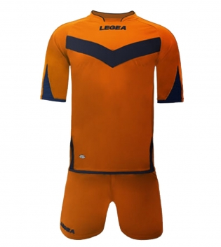 Kit Aragona LEGEA Completo Sport Sportivo Calcio Completino Uomo Bambino GIOSAL-Arancio-Blu-3XS