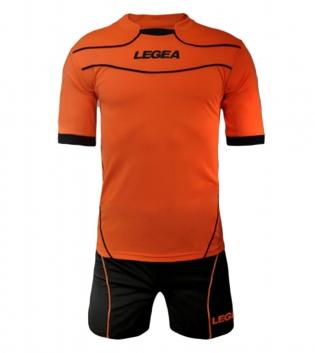 Kit Calcio LEGEA Modello Tuono Brasilia Completi Calcio SPORT GIOSAL-ArancioFluo-Nero-XS