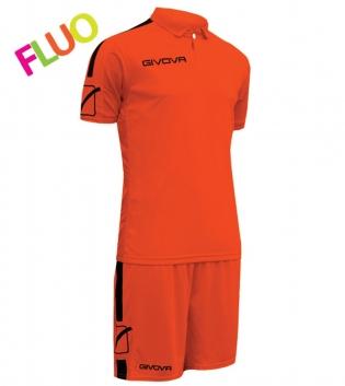 Kit Play Calcio Sport GIVOVA Abbigliamento Sportivo Uomo Calcistico GIOSAL-ArancioFluo/Nero-M