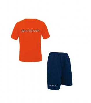 Completo Outfit Tuta GIVOVA Bermuda Friend T-Shirt Spot Arancio Fluo Blu Uomo Donna Bambino GIOSAL