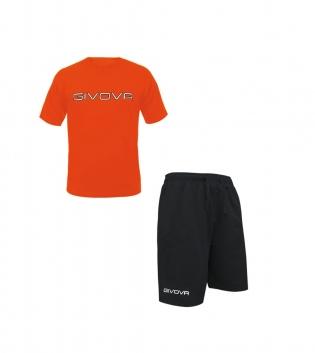 Completo Outfit Tuta GIVOVA Uomo Donna Bambino Bermuda Friend T-Shirt Spot Arancio Fluo Nero GIOSAL