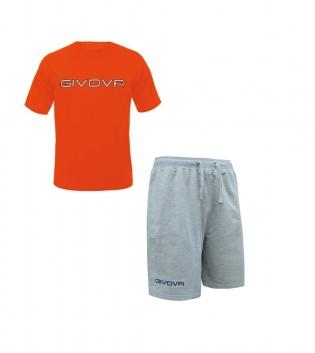 Completo Outfit Tuta Uomo Donna Bambino GIVOVA  Bermuda Friend T-Shirt Spot Arancio Fluo Grigio Melange GIOSAL