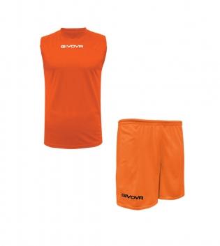 Outfit Givova Completo Bermuda Uomo Givova One Shirt Smanicato Arancio Fluo Donna Bambino GIOSAL
