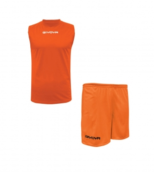 Outfit Givova Completo Bermuda Uomo Givova One Shirt Smanicato Arancio Fluo Donna Bambino GIOSAL-Arancio Fluo-S