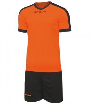 Kit Revolution Calcio Sport GIVOVA Abbigliamento Sportivo Uomo Calcistico GIOSAL-Arancio/Nero-4XS