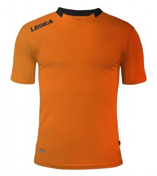 Maglia Sport Calcio LEGEA Monaco Manica Corta Tinta Unita Abbigliamento Sportivo GIOSAL-Arancio-Nero-XS