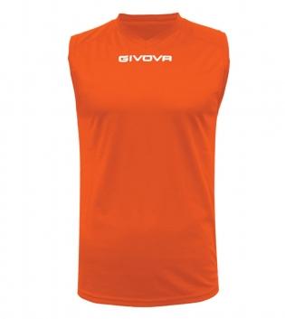 New Shirt Smanicato Givova One Uomo Stampa Tinta Unita Sport GIOSAL-Arancio Fluo-S