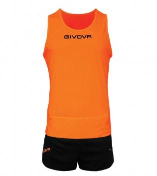 Kit New York GIVOVA Unisex Uomo Donna Athletics Running Sport Sportivo GIOSAL-ArancioFluo/Nero-XS