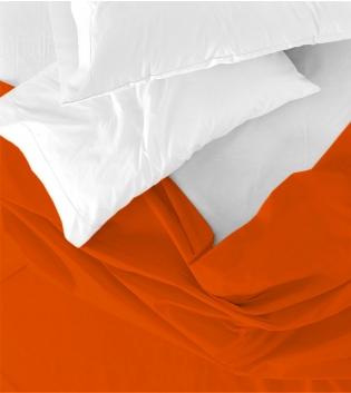 Lenzuolo Sopra Maestri Cotonieri Singolo 160x290cm Cotone Tinta Unita Vari Colori GIOSAL-Arancione