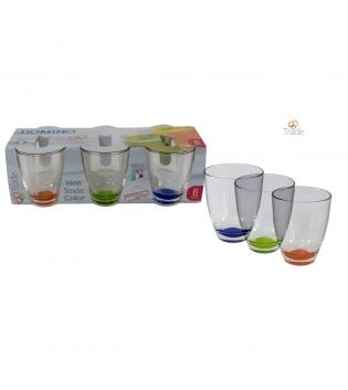 Set Bicchiere Domino Bicchieri Fondo Lustro Vari Colori 6 pz GIOSAL AV59001ABV-Verde