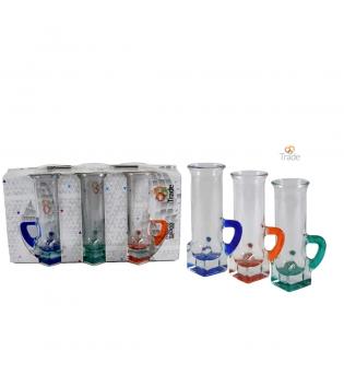 Set Di Bicchieri 6 pz Liquore Fondo Lustro Trasparente Assortito Vari Colori GIOSAL AV59043ABV-Verde