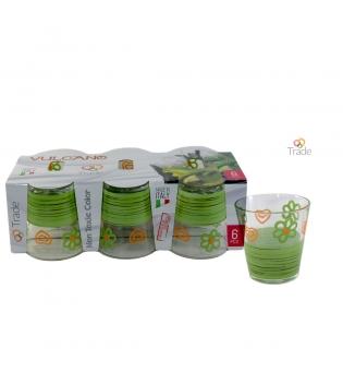 Set Di Bicchieri Vulcano 6 pz Decoro Farmhouse Vari Colori GIOSAL AV59862VAR-Verde