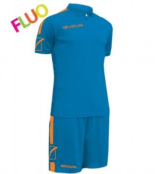 Kit Play Calcio Sport GIVOVA Abbigliamento Sportivo Uomo Calcistico GIOSAL-Azzurro/ArancioFluo-M