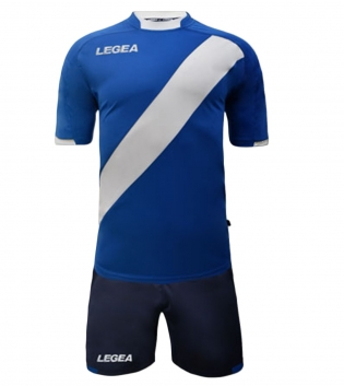 Kit Completo Calcio Uomo LEGEA Lima Abbigliamento Sportivo Sport GIOSAL-Azzurro-Bianco-S