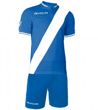 Kit Plate Calcio Sport GIVOVA Abbigliamento Sportivo Calcistico Uomo GIOSAL-Azzurro-Bianco-M
