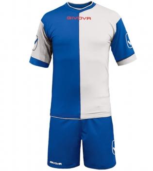 Kit Combo GIVOVA Completino Calcio Sport Sportivo Calcetto GIOSAL-Azzurro-Bianco-M