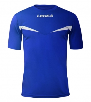 Maglia Sport Calcio Pristina LEGEA Manica Corta Uomo Bambino GIOSAL-Azzurro-Bianco-3XS