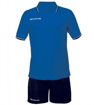 Completo Tuta Givova Kit Street Uomo Bambino Polo Pantaloncini Completino GIOSAL-Azzurro/Blu-4XS
