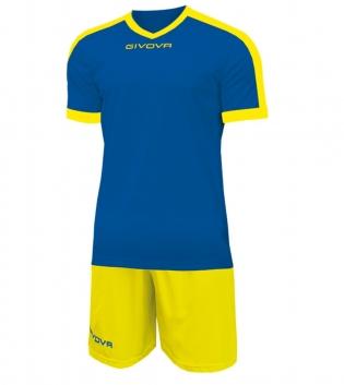 Kit Revolution Calcio Sport GIVOVA Abbigliamento Sportivo Uomo Calcistico GIOSAL-Azzurro/Giallo-4XS