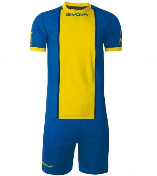 Kit Paris Calcio Sport GIVOVA Abbigliamento Sportivo Uomo Calcistico GIOSAL-Azzurro/Giallo-M
