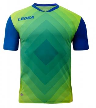 Maglia Calcio Sport LEGEA Norimberga Manica Corta Abbigliamento Sportivo GIOSAL-Azzurro-Giallo-S