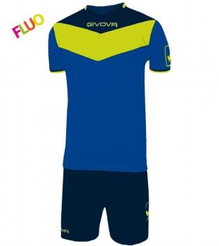 Kit Calcio GIVOVA Campo Fluo Completino Football Sport Sportivo GIOSAL-Azzurro/GialloFluo-2XS
