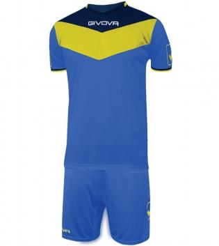 Kit Calcio GIVOVA Campo Completino Football Sport Sportivo Uomo Bambino GIOSAL-Azzurro/Giallo-2XS