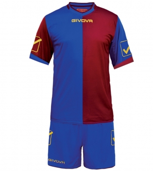 Kit Combo GIVOVA Completino Calcio Sport Sportivo Calcetto GIOSAL-Azzurro-Granata-M