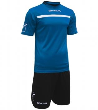 Kit One Calcio GIVOVA Uomo Sport Uomo Bambino Abbigliamento Sportivo Calcistico GIOSAL-Azzurro/Nero-3XS