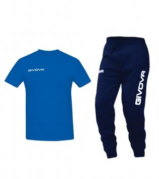 Outfit Completo Givova Tuta T-Shirt Fresh Pantalone Cotone Azzurro Blu Uomo Donna Bambino Unisex GIOSAL